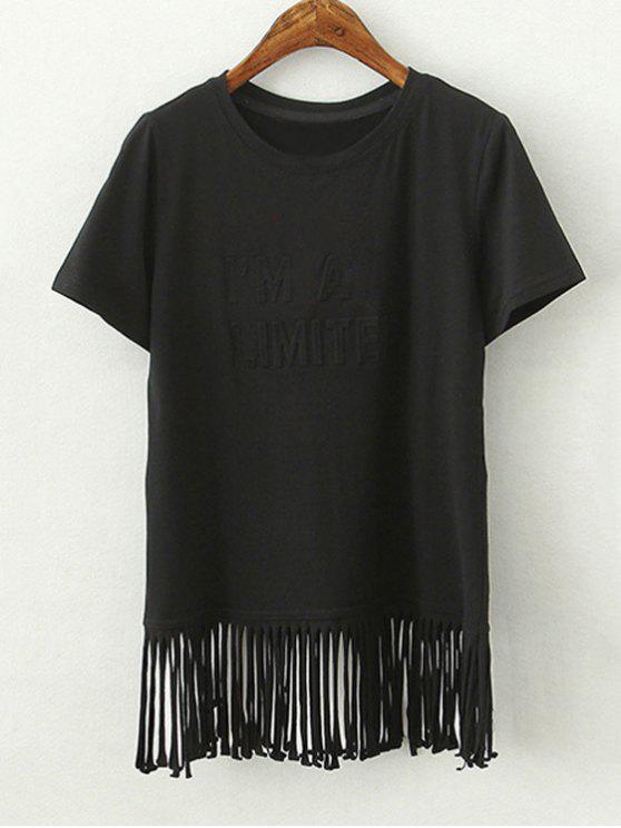 Borlas empalmado de cuello redondo manga corta de la camiseta - Negro S
