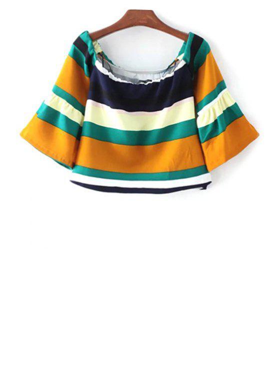 Rayas con cuello redondo de 3/4 de la manga de la camiseta - Colormix S