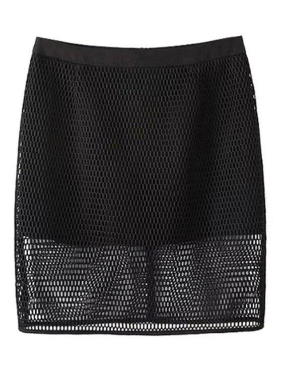 latest Solid Color High Waisted Mesh Skirt - BLACK M