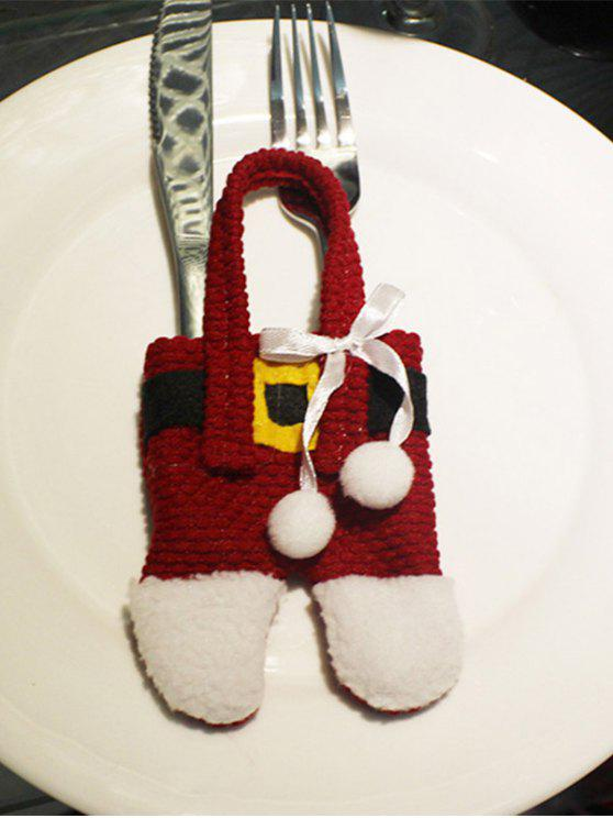 ladies Christmas Santa Pants Shape Tableware Holder Bag - RED WITH WHITE