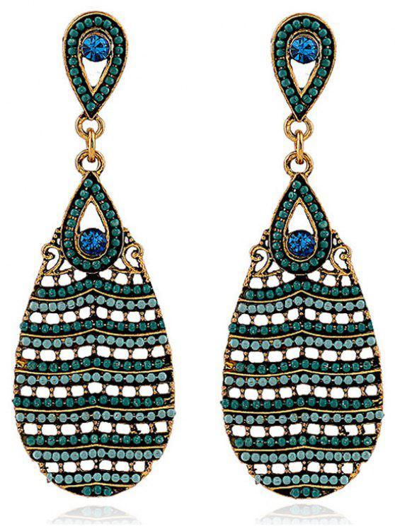 shops Beaded Water Drop Pendant Earrings - EMERALD