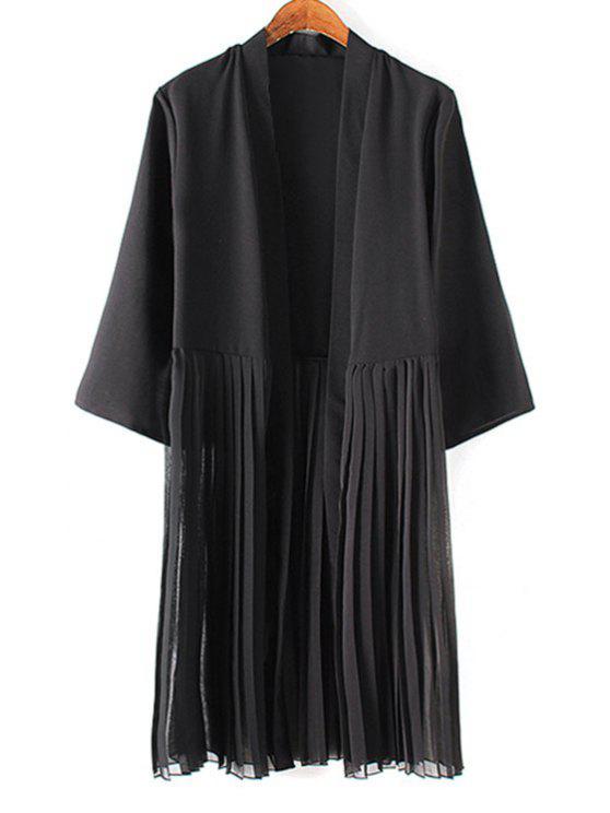 fancy Tassels Spliced 3/4 Sleeve Solid Color Coat - BLACK L