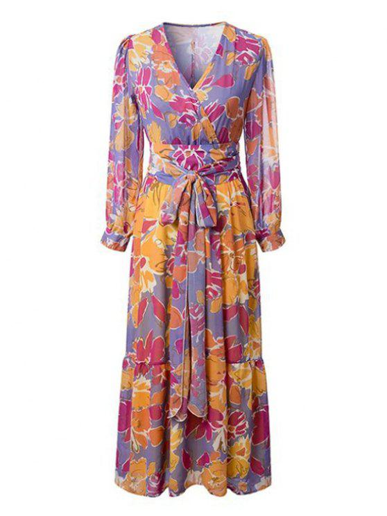 women's Flower Print V Neck Long Sleeve Self Tie Dress - COLORMIX M