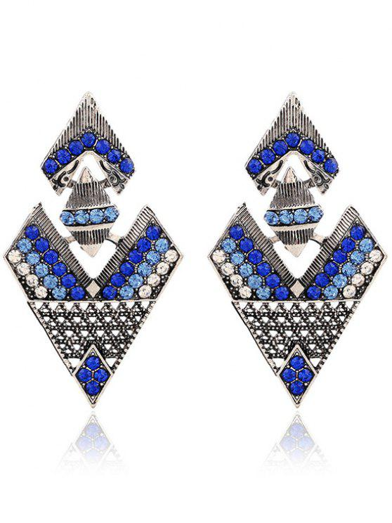 hot Rhinestone Inverted Triangle Pendant Earrings - SAPPHIRE BLUE