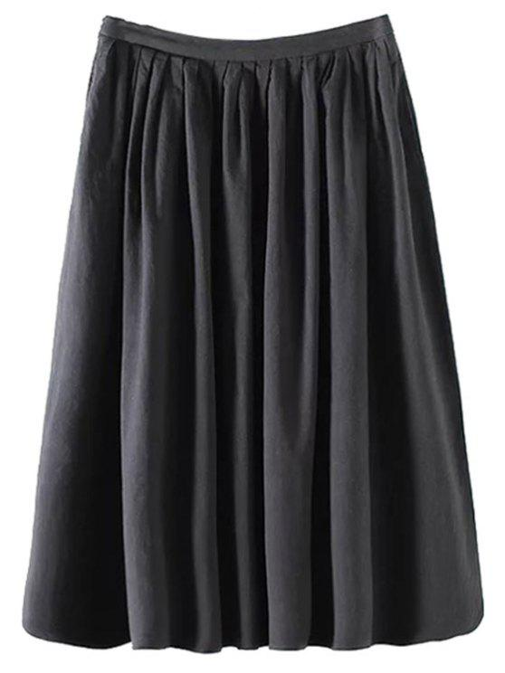 buy Solid Color High Waist A-Line Pleated Skirt - BLACK M