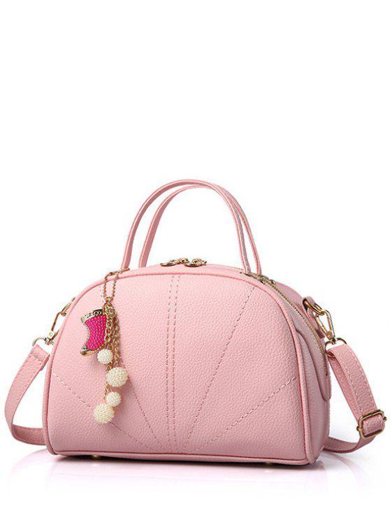 La bolsa de asas de color caramelo colgante de la costura - Rosa