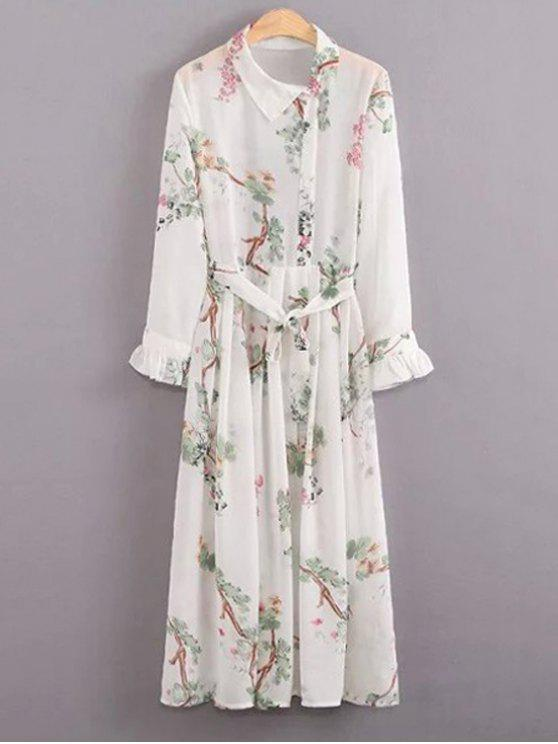 womens Floral Turn Down Collar Long Sleeve Dress and Cami Dress Twinset - WHITE L