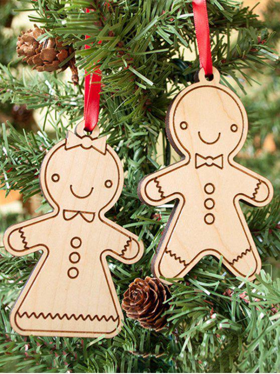 Pendentifs en bois en forme de biscuits pour décoration d'arbre de Noël en 2PCS - Bois