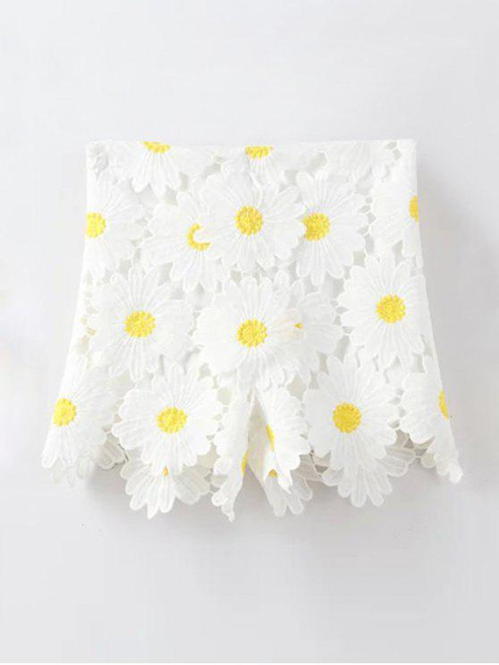 women Sunflowers Lace High Waist Shorts - WHITE L