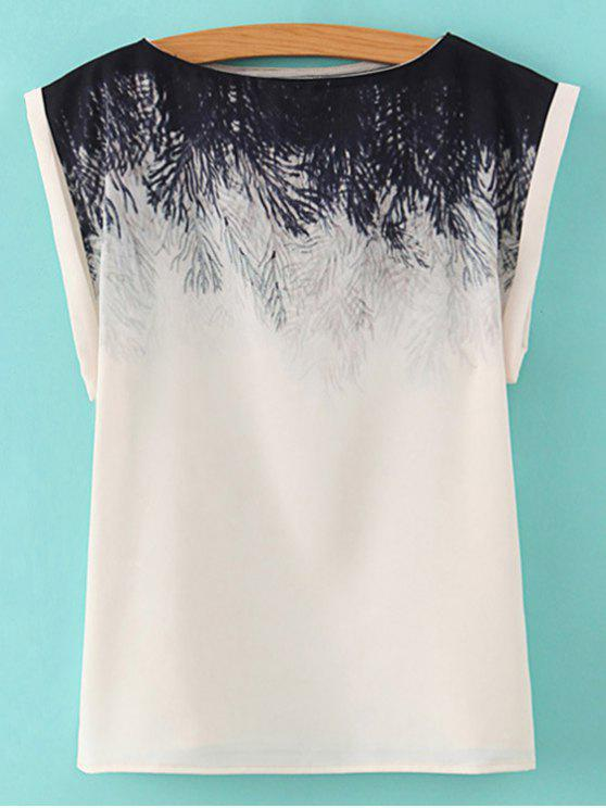 lady Printed Slash Neck T-Shirt - WHITE L