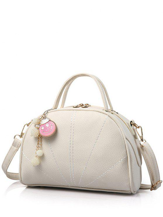affordable Pendant Stitching Candy Color Tote Bag - OFF-WHITE
