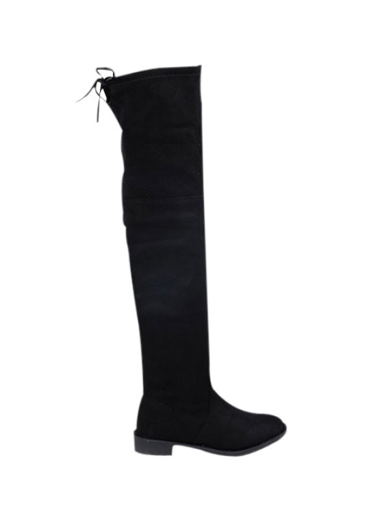fancy Suede Flat Heel Thigh High Boots - BLACK 38
