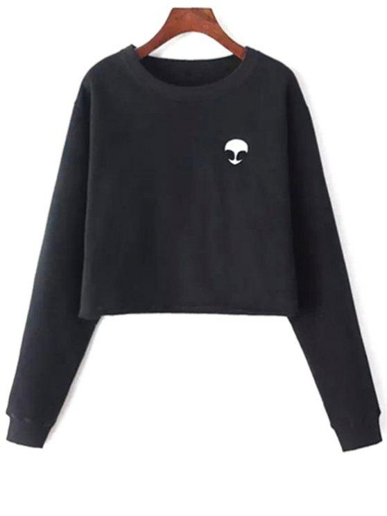 Sweat-shirt Court Brodé Extraterrestre - Noir Taille Unique(S'adap
