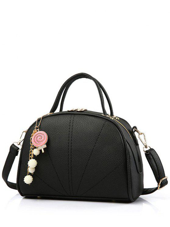 sale Pendant Stitching Candy Color Tote Bag - BLACK