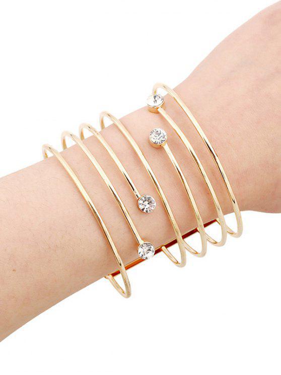 bracelets en strass et creux - Or