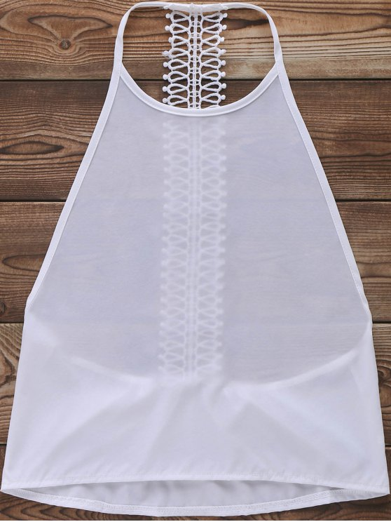 Tank Top Solid Color Backless - Blanc L