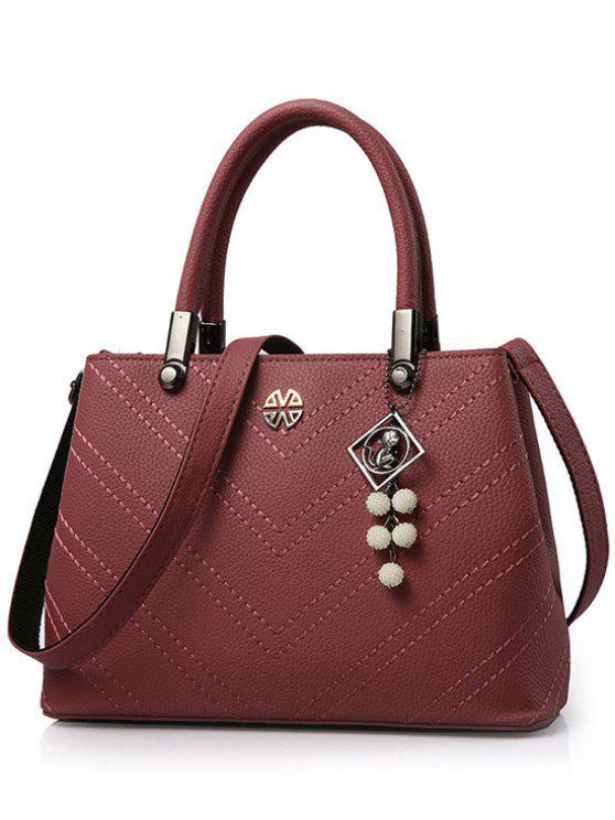 fashion Pendant Stitching PU Leather Tote Bag - DARK RED