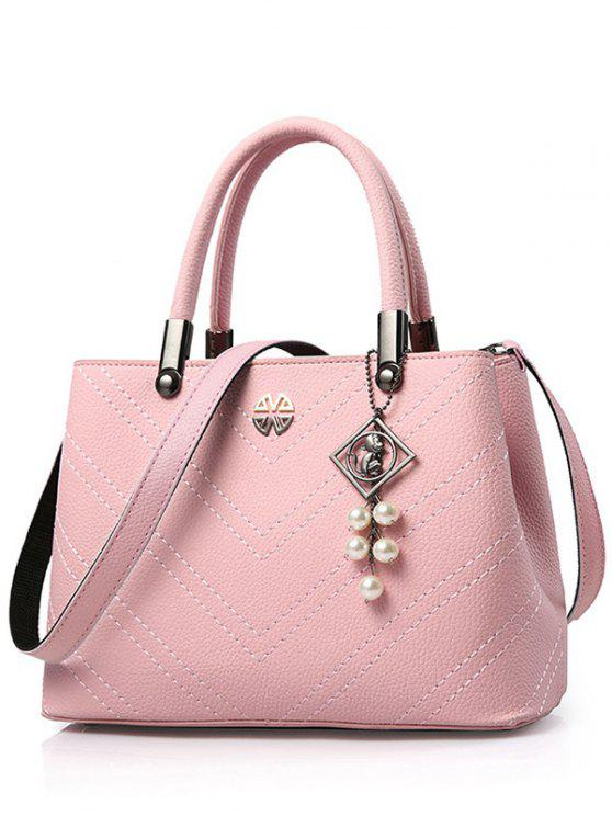 shops Pendant Stitching PU Leather Tote Bag - PINK