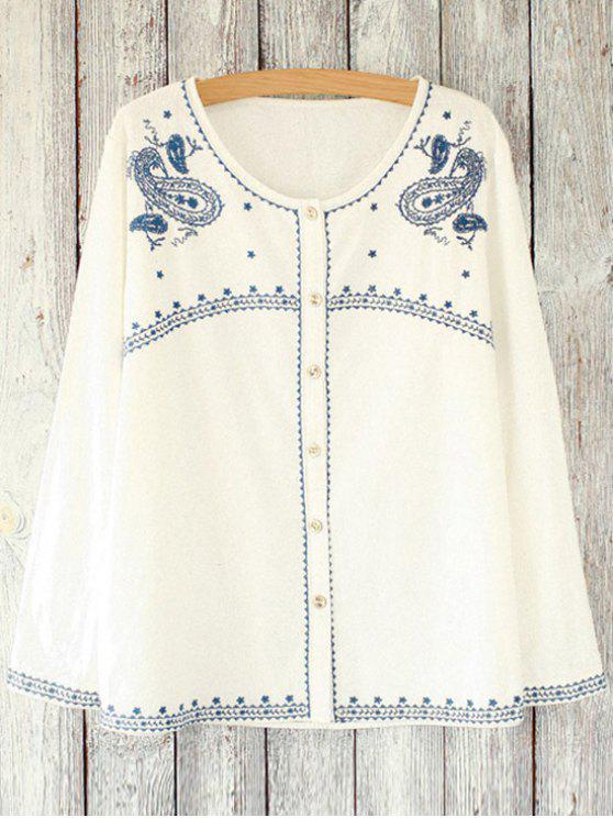 Bordado retro suelta cuello redondo de manga larga blusa - Blanco Un tamaño(Montar tam