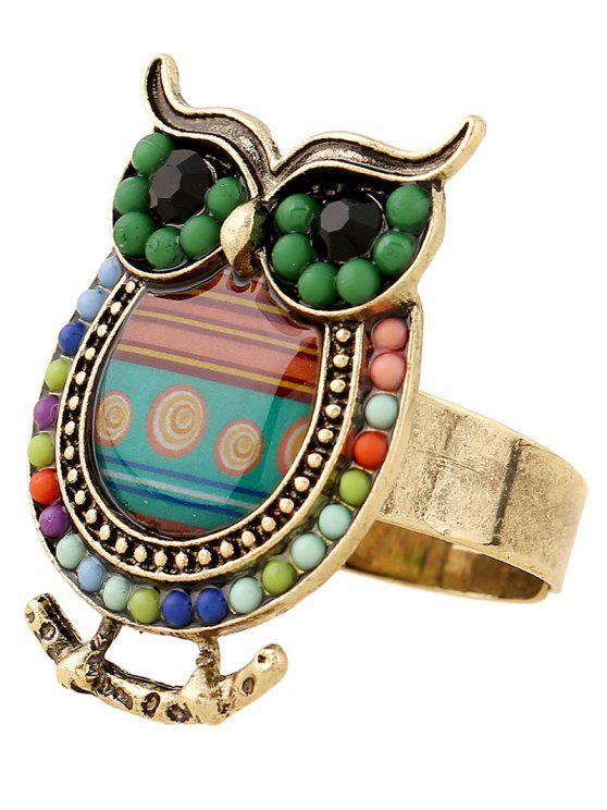 Anneau de doigt perlé en forme d'hibou - Vert