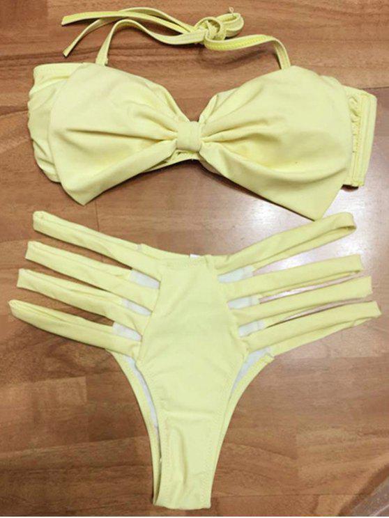 outfit Bowknot Bandeau Bikini Set - YELLOW L