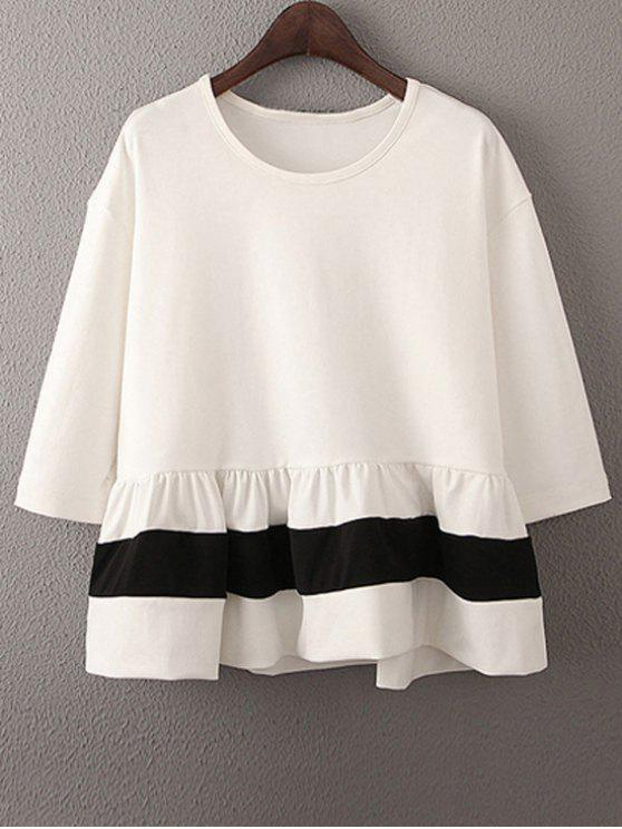 womens Dropped Shoulder Ruffle Hem Loose Top - WHITE M