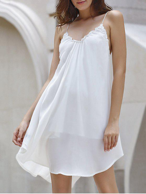 Backless Solid Color bretelles spaghetti robe - Blanc Cassé L
