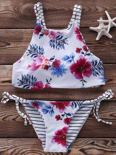 Floral Halter String Bikini Cute Bathing Suit - White L