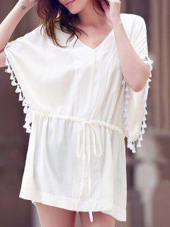 Solid Color V-Neck Batwing Sleeve Drawstring Dress - White L
