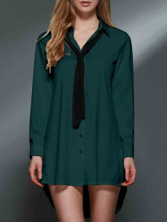 Bowknot Embellished Tunic Shirt Dress - Green Xl