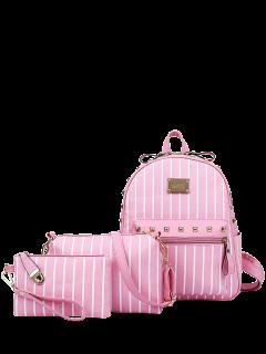 Gestreifte Niet PU-Leder Rucksack - Pink
