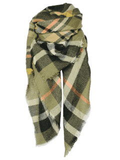 Tartan Pattern Shawl Scarf - Blackish Green