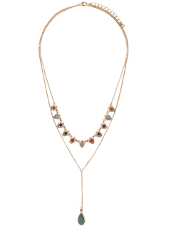 Fake Gem Layered Necklace - Golden