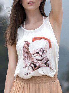 Lovely Cat Print Scoop Neck Sleeveless Tank Top - White L