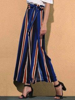 Pantalon Rayé Contrastant Taille Haute à Jambes Larges - Bleu L