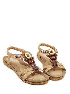Faux Gem Elastic Flat Heel Sandals - Apricot 41