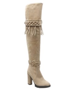 Fringe Criss-Cross Chunky Heel Thigh Boots - Beige 38