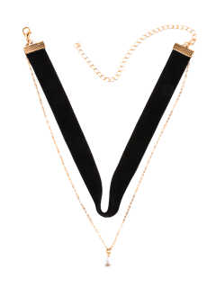 Faux Pearl Layered Velvet Choker - Black