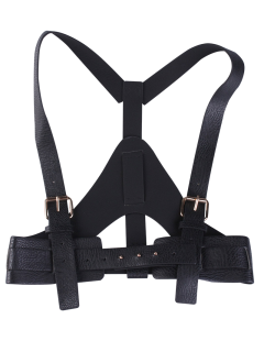 Faux Leather Belt Suspenders - Black