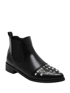 Pointed Toe Rivets Elastic Band Ankle Boots - Black 38