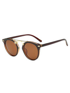 Dam Nose Bridge Oval Sunglasses - Tea-colored