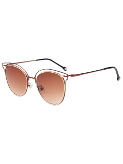 Double Rims Cat Eye Sunglasses - Tea-colored