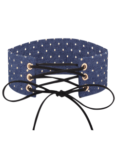Adjustable Bowknot Denim Choker Necklace - #05