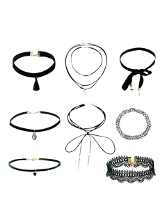 Tassel Velvet Lace Geometric Necklaces - Black