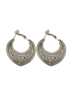 Etched Moon Hoop Earrings - Silver
