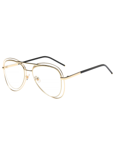Double Rims Transparent Lens Pilot Sunglasses - Golden