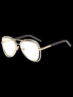 Llantas Transparente De Doble Lente De Las Gafas De Piloto - Dorado