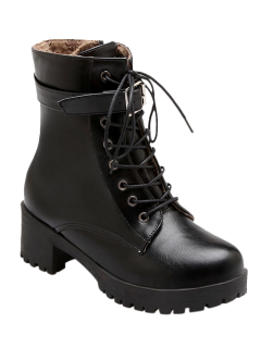 Buckle Lace-Up Round Toe Short Boots - Black 37