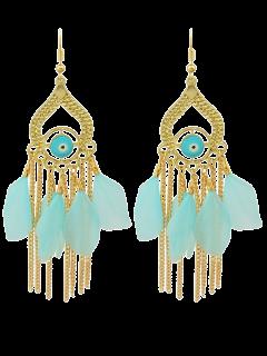 Vintage Feather Water Drop Earrings - Blue