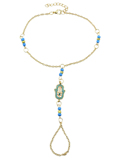 Hand Faux Gem Beads Anklet - Blue